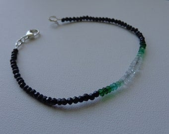 Aquamarine emerald black spinel gemstone bracelet stacking bracelet sterling silver