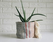Vintage Hmong and Mudcloth Plant Cover with Fringe - Planter Fabric - Modern Bohemian Decor