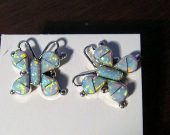 LABORSALEWEEK    Vintage Native American Zuni Opal Butterfly Earrings made by Joann Cooayate
