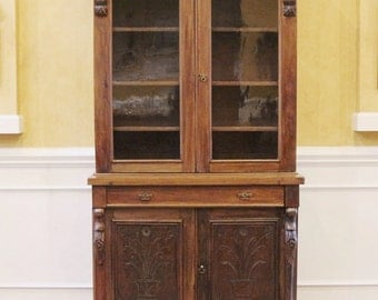REDUCED. Antique Carved Mahogany China Cabinet, Bookcase, Hutch. English Victorian C.1880