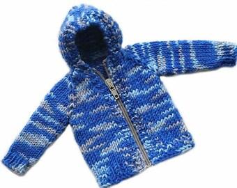 Ken Doll Hoodie. Hand knit.  Long Sleeves. Front Zipper. Blue Sweater. Hoody. Barbie and Ken. OOAK