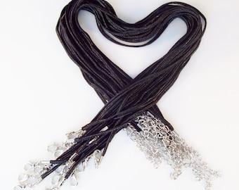"""10 """"Bailey"""" Necklaces - Black 17-19"""" inch 3mm"""