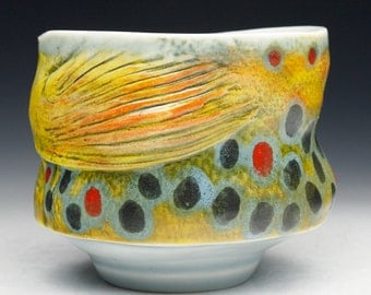 Fish Brown Trout Porcelain Cup Yunomi (Nature as Objects) Gyotaku Gas Fired Pottery