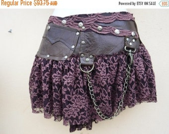 """20%OFF Burning Man festival... steampunk bohemian gypsy leather skirt belt with dog clip & with pocket ...32"""" to 40'' hips or waist..."""