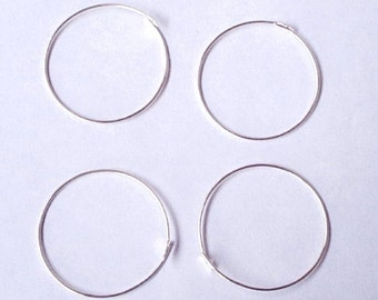 CLEARANCE - 4 (2 Pair) 25mm Beading Hoops - Sterling Silver
