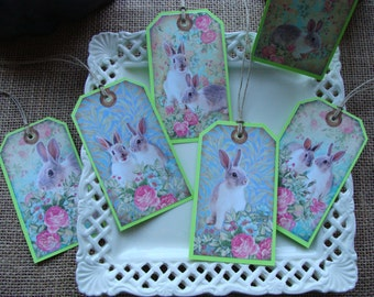 Gift Tags - EASTER - Vintage Floral Bunnies - EA36