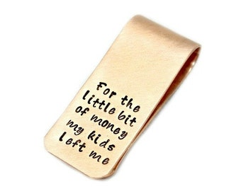 Personalized Money Clip  Hand Stamped Gift for Him Copper money clip Gift for Dad