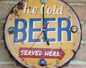 Rustic style Bottle Cap Clock Tin sign. Ice Cold Beer Served Here! , gameroom, bar,mancave.