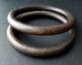 Vintage Pair Wooden Wood Bracelets Bangle Dark Brown Tribal Boho Jewelry