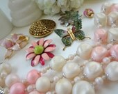 Vintage Jewelry Pieces for Assemblage / Brooch Bouquet Filler / Altered Art Pieces / Pinks and Greens