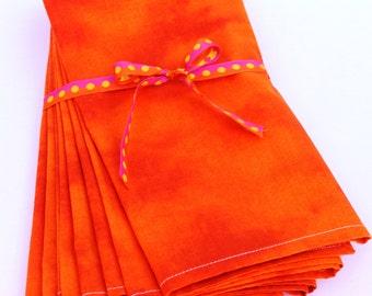 SALE Cloth Napkins, 19 x 20, Cheerful Orange Napkins-Set of 6