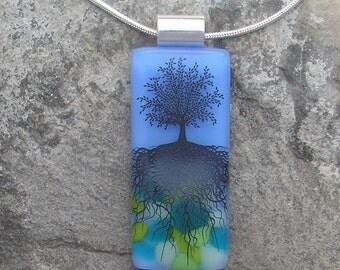 Blue Skies Tree of Life Necklace Fused Glass Tree Pendant