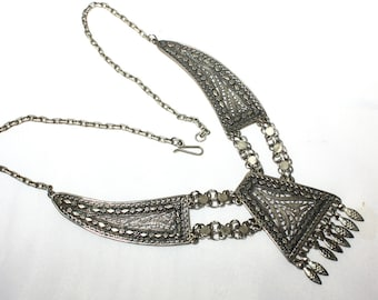 Sterling Silver, Ethnic Necklace, Tassel Open Work, Filigree, Artisan Necklace, Boho Bib Necklace, Tribal, Saudi Arabia