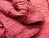 LINEN Fabric - DOUBLE face with softening-Red & Dark Rede  color