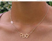 20 off. Wonky squares. Cube and squares necklace in gold with clear Swarovski crystal chain necklace (NM-244)