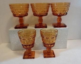 Set of Five Park Lane Vintage Amber Stems