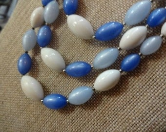Three Strand Blue and White Bead Vintage Necklace