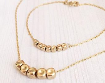 Boho necklaces, Nuggets necklace, Boho set, Boho bracelet, Gold necklace, Gold set, Nuggets bracelet, Dainty necklace, Dainty bracelet