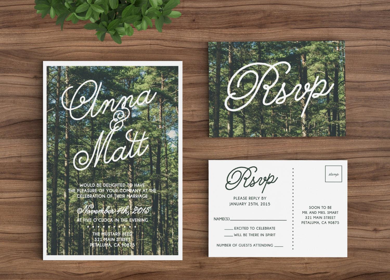 Custom Wedding Invitation Templates: Wedding Invitation Template Printable Rustic Forest Trees