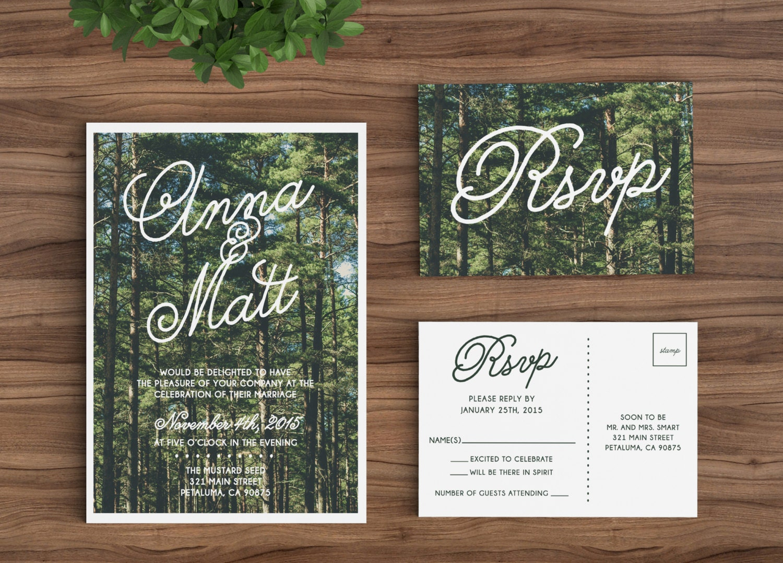 Customizable Wedding Invitation Templates: Wedding Invitation Template Printable Rustic Forest Trees
