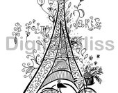 Whimsical Eiffel Tower Adult Coloring Page, Je t'aime Paris Coloring Page, Fruits and Macarons to Color, Line Drawing, Scrapbooking
