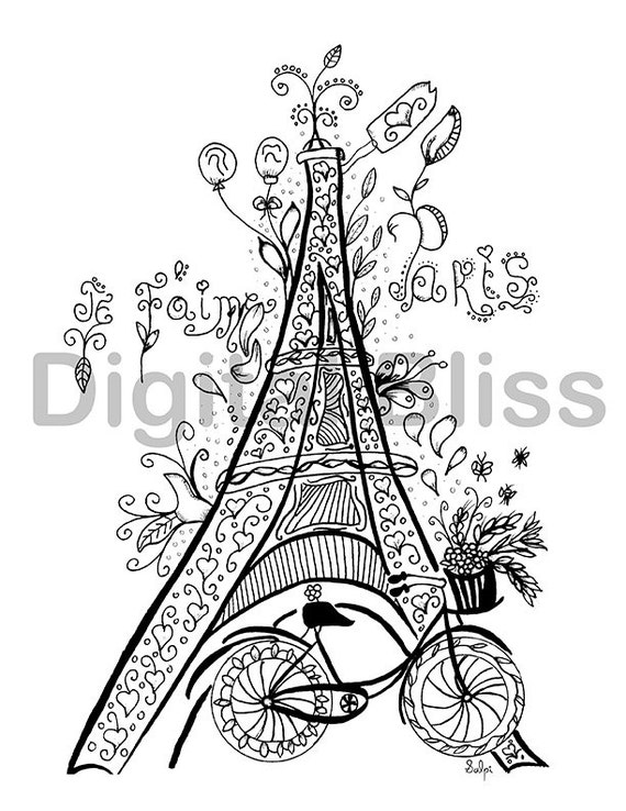 Whimsical Eiffel Tower Adult Coloring Page Je Taime Paris Fruits And Macarons To Color Line Drawing Scrapbooking