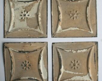 Genuine Antique Ceiling Tin -- 6 inch Tiles --  Crafts, Backsplashes, Birdhouses -- E17