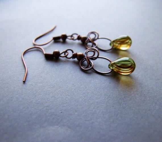 Autumn Drop Earrings, Cute Dangle Autumn Earrings, Honey Drops, Autumn Jewelry, Yellow Drop Earrings