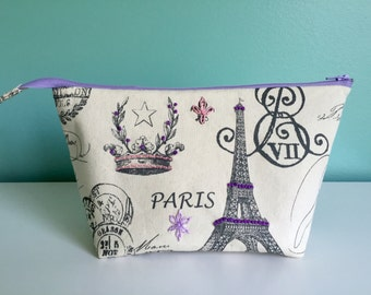 Hand Embroidered Embellished Zippered Flat Bottom Knitting Project Pouch Bag Paris Medium Size