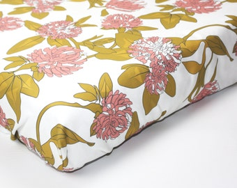 FLORAL crib sheet- baby girl bedding- crib fitted sheet- change pad cover- green pink baby bedding- modern baby bedding- floral baby bedding
