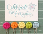 Bright Rainbow Crocheted Circle Clips Set of 5 Planner Clips Bible Journaling Bookmarks