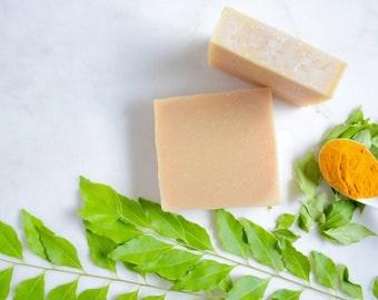 Neem & Turmeric Soap; Ayurvedic Handmade Soap; All Natural Soap; Acne Soap; Face Wash; Cleanser, Cold Process Soap; Facial Soap; Vegan Soap