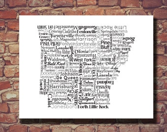 Arkansas Print, AR, Arkansas, Arkansas Map, Wedding Gift, Personalized, Print, Custom, Cities, Housewarming Gift, Travel Map, Typography