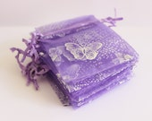"RESERVED LISTING for MARIA Purple and Silver Organza Bags Butterfly Print 2 3/4"" x 3 1/2""  Favor Bags 50+ Weddings / Party Favors /"