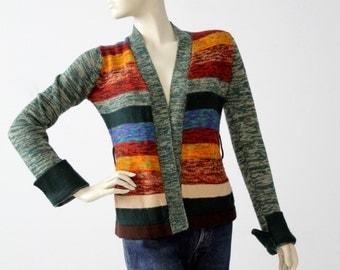 FREE SHIP  1970s hippie cardigan, vintage striped open sweater