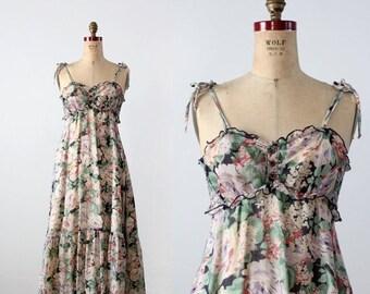 SALE 1970s floral sundress, vintage maxi dress
