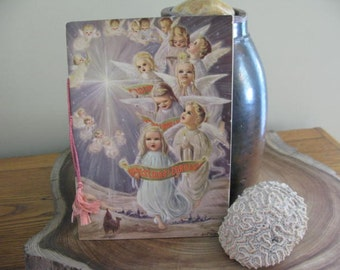 """Gorgeous Mellow Aged Paper Vintage LARGE Book of Christmas Carols (13) """"Silk"""" Tassel Nostalgic Display Closed, Open Illustrated Pages Also"""