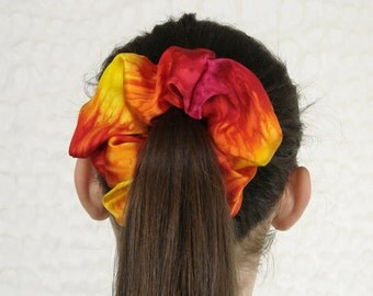 Fire Red and Yellow Silk Satin Scrunchie