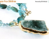 ON SALE Teal Druzy Pendant with Variscite, Agate, and Crystal Necklace, Gold Filled, Gemstone Necklace
