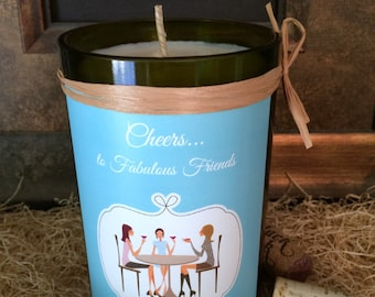 Recycled Wine Bottle Candle - Custom Label - Friendship Candle