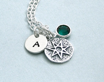 Game of Thrones Seven Pointed Star Personalized Charm Necklace with Initial Disc and Birthstone