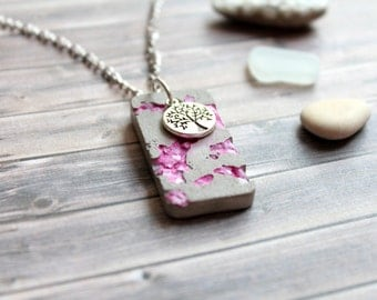 Concrete necklace with stones and tree of life