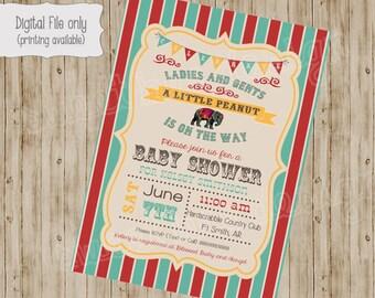 Circus Baby Shower Invitation , Circus Birthday Invitation, Circus Invitation