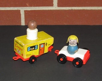 Wooden 1960's Fisher Price Little People Camper with Trailer and Car
