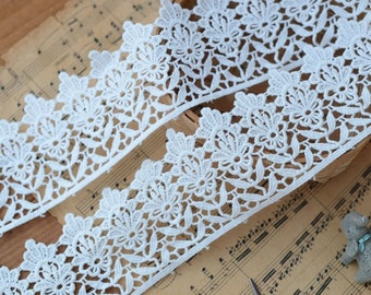 Cotton Lace Trim -2.5 Yards Ivory Flower Lace Trim (L685)
