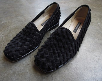 Vtg Italian Best Pony Hair and Suede Woven Leather Slip on Loafers Sesto Meucci Made in Italy Size 5.5 1990s
