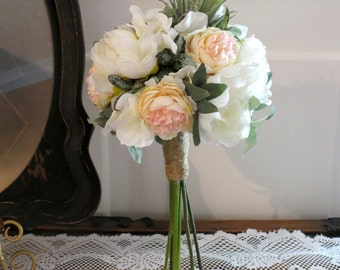 Rustic Bridesmaid Bouquet, Blush and Succulent Wedding, MADE TO ORDER, White Bouquet, Peony Wedding Flowers, Twine Wrapped