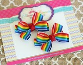 Baby Bows, Toddler Bows, Girls Hair Bows, Hair Clip, Birthday Hair Bows, Rainbow Bows, Rainbow Pigtail Set, Rainbow Piggy Set, 2 Inch Bows