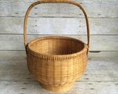 Vintage Woven Handled Basket - Handle - Honey