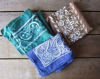 Set of Vintage Bandanas - set of three - Green, Blue and Brown